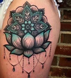 Blue and Black Lotus Sleeve Tattoo Design. #ThighTattooIdeas