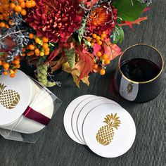 Haute Papier's brushed gold foil stamped pineapple coasters are a lovely addition to any home and make the perfect hostess gift!