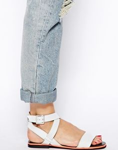 Image 4 of ASOS FACULTY Leather Flat Sandals