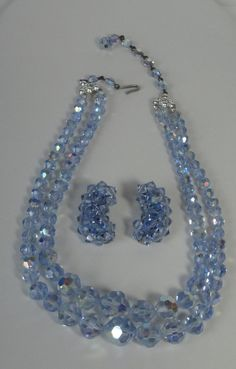 Mid Century Blue Faceted Crystal Two Strands Necklace and Earrings Set. Blue Rock Crystal by Cosasraras on Etsy