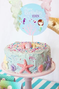 Under the Sea Birthday Party -- cake.