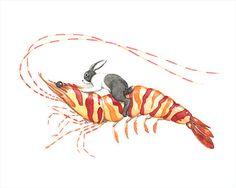 Bunny Riding Tiger Shrimp - Rabbit Art