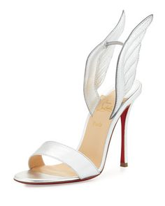 Samotresse 120mm Wing Red Sole Sandal, Silver by Christian Louboutin at Neiman Marcus.