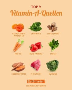The best sources of vitamin A. - These are the best sources of vitamin A. An overview of the most important vitamin sources can be found here: eatsmarter.de/vitamine C - Smoothies For Kids, Good Smoothies, Healthy Life, Healthy Eating, Sources Of Vitamin A, Foods With Vitamin A, Protein Sources, Food Facts, Health And Nutrition