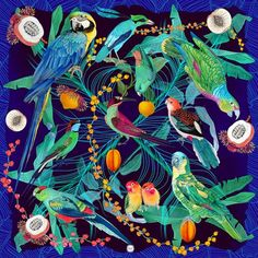 Forget Me Not - YASUNI BIRDS #scarf #silk #french #illustration #art