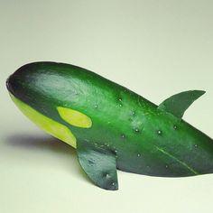Cucumber shark to put on veggie tray. Great to make an under the sea cudite plate! Birthday party ideas. #shark #foodart #undertheseabirthday