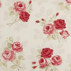 Nancy - Rouge - Cream fabric with vintage red rose print