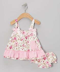 Take a look at this Pink Floral Ruffle Swing Top & Diaper Cover - Infant by Baby Gem by Royal Gem Clothing on #zulily today!