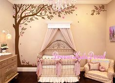 Corner Tree Wall Decal with falling leaves, Baby, nursery wall decal -Birds Wall decals, Wall Sticker home decor-DK173