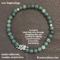 As snakes shed their skin through sloughing, they are #symbols of rebirth, #transformation, immortality, and healing.  NEW #BEGINNINGS: Russian #Serpentine + #Snake #yoga #Mala #Bead #Bracelet #mens #bracelets #womens #mens #energy #healing #spiritual #meditation #crystal #crystals #love #style #luck #lucky #artisan #handmade #jewelry #OOAK #fashion #love #blessed #black #design #karma #buddha