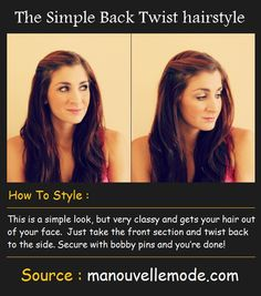 The Simple Back Twist hairstyle | Pinterest Tutorials I do this to my hair almost everyday it keeps frizz out of the way and you can do the same to both sides of your hair for more of a half up hairstyle
