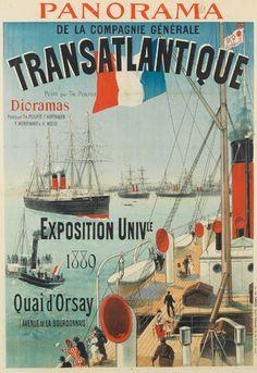 Cie Gle Transatlantique - Panorama de la compagnie - Exposition universelle 1889 - illustration de Jules Chéret -