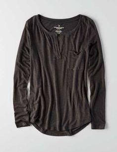 AEO Henley Long Sleeve T-Shirt