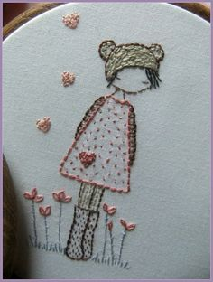 Three girls in hats embroidery pattern PDF by LiliPopo on Etsy, £2.50They are quite simple embroideries using mainly backstitch with a few lazy daisies as flowers.