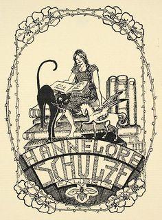 EX LIBRIS: Antique Book Plates : Girl with Books, Cat and Unicorn. Ex Libris for Hannelore Schulze at Davidson Galleries