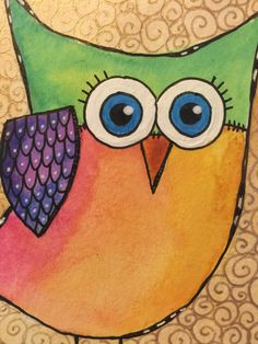 Mixed Media Painted Doodled Owl in Bright Colors and Gold Frame. Perfect Gift for a Teacher, Bus Driver, Mother In Law, Neighbor, Owl Lover - $16.00 - Handmade Art, Crafts and Unique Gifts by Glimmerbug Art  #giftsforgirlfriends #giftsforfriends #uniquegifts
