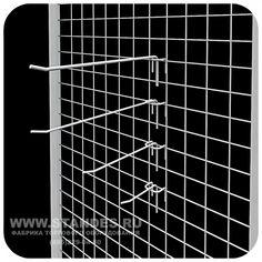 Крючки штыревые, белые, 4 типа размеров - Для торговой сетки/решетки  - Увеличить