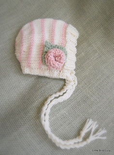 Knit Baby Hat Bonnet Knitted Newborn Infant by LittleBirdLucy, 25.99