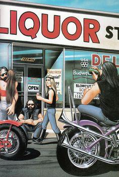 painting of biker life