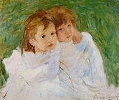 The Sisters, c.1885 - Mary Cassatt - www.marycassatt.org - Color contrast, negative space, curved lines