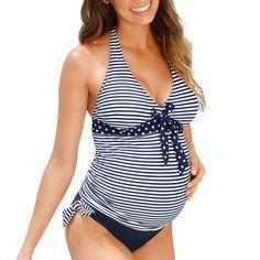 ff73ae3d724a3 TS#504 Maternity Tankinis Women Stripe Print Bikinis Swimsuit Beachwear  Pregnant Suit Free Shipping Striped