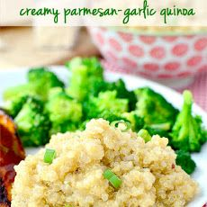 Creamy Parmesan-Garlic Quinoa Recipe Side Dishes with quinoa, chicken broth, extra-virgin olive oil, garlic, grated parmesan cheese