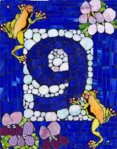 Glass mosaic house number on fibre cement board SOLD