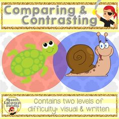 This activity contains 2 levels of compare & contrast cards: one with visuals and one with text.  It can be used for students as young as pre-K and as old as middle school!  There is a wide variety of items/ideas!  It also contains a chart that can be used to teach this skill and as a visual prompt for students working toward independence in discussing relationships between objects.Contains:-35 pairs of pictures to compare/contrast. -written cues for similarities (blue text) and differenc...