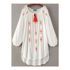 SheIn(sheinside) White Lantern Sleeve Tie Neck Tassel Embroidery Dress (31 AUD) ❤ liked on Polyvore featuring dresses, white, fringed dresses, short sleeve dress, cotton shift dress, white peasant dress and white dress