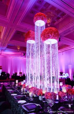 tall centerpiece with hanging crystals