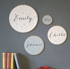 I've just found Personalised Baby Name Hoop. A sweet little fabric personalised print, a name framed in a wooden embroidery hoop.. £12.50