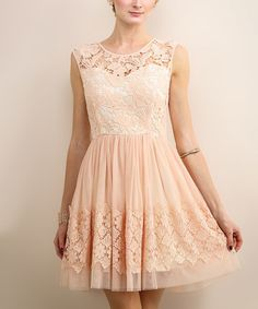 Champagne Blush Floral Lace Sleeveless Dress
