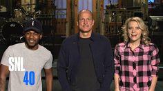 That time Woody Harrelson gave Kate McKinnon and musical guest Kendrick Lamar piggyback rides through #SNL's Studio 8H.