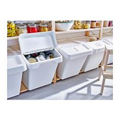 IKEA - SORTERA, Recycling bin with lid, 16 gallon, , You can easily access the contents of a bin, even when stacked, because it has a folding lid.