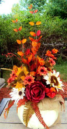 XL Fall White Pumpkin Centerpiece Autumn Centerpiece Sunflower Fall Thanksgiving Arrangement  X LARGE