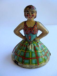 Vintage Tin Litho toy ballerina Marx 1930s.  via Etsy.