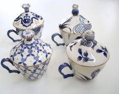 Bombay Company Tea Cup, Saucer and Lid Set White and Blue Gold Trim