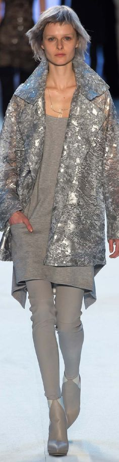 Akris ~ Fall Grey Mini w Silver-Grey Jacket, 2015