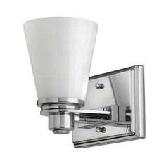 """Avon Collection 7 1/4"""" Wide Bathroom Light Fixture by Hinkley. $79.00. Extends 6 1/4"""" from the wall.. 7 1/2"""" high.. 7 1/4"""" wide.. Chome finish.. Uses one 75 watt bulb (not included).. A crisp, modern look in bathroom lighting from the Avon Collection. Chome finish bar with white glass.. Save 34%!"""