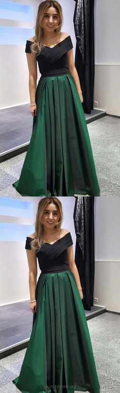 Green Prom Dresses, Long Prom Dresses, Satin Prom Dresses Off-the-shoulder, A-line Prom Dresses Ruffles, 2018 Prom Dresses For Teens #greendress #promteens