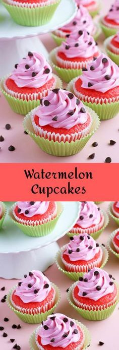 Watermelon Cupcakes topped with homemade buttercream! These fluffy vanilla cupcakes bursting with juicy pockets of watermelon and hot pink frosting. These are the perfect summer cupcake recipe! Summer Cupcake Recipes, Summer Cupcakes, Easter Cupcakes, Flower Cupcakes, Christmas Cupcakes, Gluten Free Bars, Easy Gluten Free Desserts, Easy Desserts, Pavlova