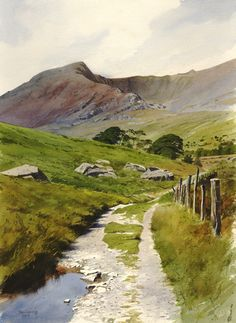 The old road to Ogwen an original watercolour painting by Rob Piercy Art Watercolor, Watercolor Landscape Paintings, Painting Art, Watercolor Journal, Landscape Artwork, Painting Lessons, Contemporary Landscape, Watercolor Portraits, Watercolor Flowers