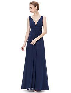 50% Off, Womens V Neck Empire Waist Double Maxi Evening Dress, 16 US, Navy Blue, Ever-Pretty