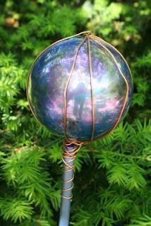 Homemade yard gazing ball...fun summer craft with the kids!