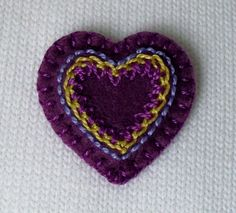 Purple Heart Brooch or Pin - Hand Embroidery on Felt. $15.00, via Etsy.