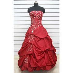 2012 Spring Style Ball Gown Sweetheart Ruffles Sleeveless Floor-length... ($169) ❤ liked on Polyvore featuring dresses, gowns, vestidos, long dresses, a line prom dresses, red evening gowns, long bridesmaid dresses, bridesmaid gown and long red dress