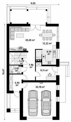 Nedostaju radne sobe - jedna na dnevnoj sobi, druga kod ulaza. Small Villa, Bike Storage, Architect House, Facade House, Modern House Design, House Floor Plans, Bird Houses, Flooring, How To Plan