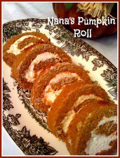 Pumpkin Roll ~ Roll = 3 eggs-1 cup sugar-2/3 cup pumpkin-1 tsp. lemon juice-3/4 cup all purpose flour-1 tsp. baking powder-1/2 tsp. salt-2 tsp. cinnamon-1 tsp. ginger-1/2 tsp. nutmeg  Filling = 1 cup confectioners sugar-1  8 oz. pkg. cream cheese-1 tsp. vanilla-1/2 cup butter, softened