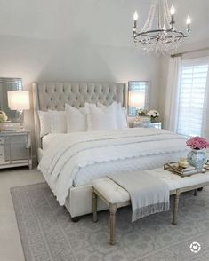 25 Exquisitely Admirable Modern French Bedroom Ideas To Steal. modern french bedroom Check out these fascinating modern French bedroom ideas to bring the style of your home to a whole new level! Master Bedroom Design, Dream Bedroom, Home Decor Bedroom, Bedroom Designs, French Bedroom Decor, Bedroom Decor Elegant, Bedroom Ideas Grey, French Master Bedroom, White Grey Bedrooms