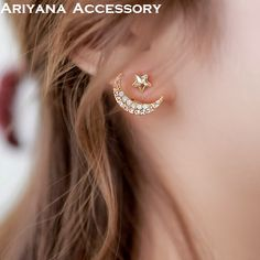***Earring jacket idea--surround a diamond stud with a starburst and a crescent moon behind the ear like shown